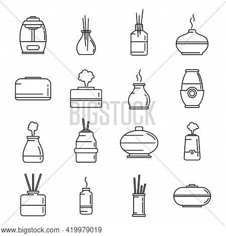 Diffuser Freshener Icons Set. Outline Set Of Diffuser Freshener Vector Icons For Web Design Isolated