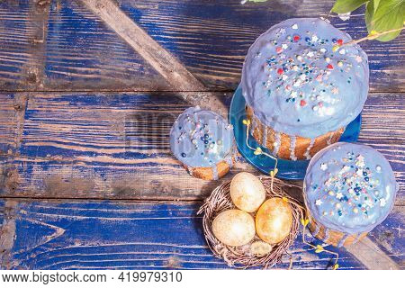 Easter Cake With Blue Icing, Topping, Edible Beads, Golden Eggs