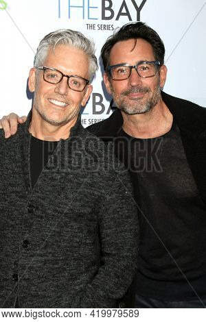 LOS ANGELES - MAY 8:  John Stewart and Gregory Zarian at the The Bay's  Season Finale Screening at the Private Residence on May 8, 2021 in Los Angeles, CA