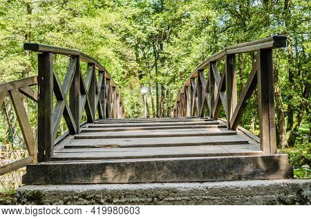 Wooden Bridge At The Source Of The River Bosna Near The City Of Sarajevo.