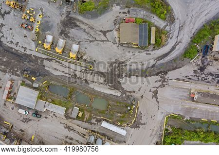 Panorama Aerial View Quarrying Extractive Industry Big Mining Of Machinery Trucks Open Pit Mine Mini