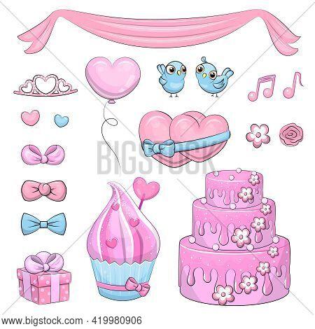 Cute Cartoon Set Of Wedding Elements: Cake, Gift, Bow, Bird, Balloon, Flower, Hearts, Cupcake, Tiara
