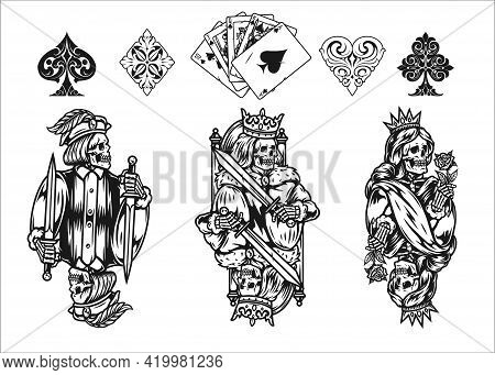 Poker Elements Vintage Monochrome Concept With Royal Flush Of Spades Elegant Card Suits King Queen A