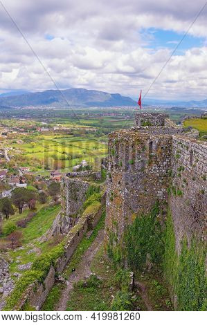 Ancient Fortifications.  Albania, Shkoder. View Of  Shkoder City And Walls Of Old Fortress Rozafa Ca