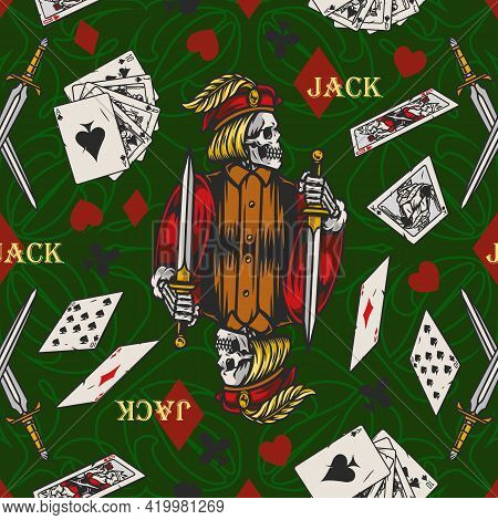 Playing Cards Vintage Colorful Seamless Pattern With Skeleton Jack Holding Dagger Playing Cards And