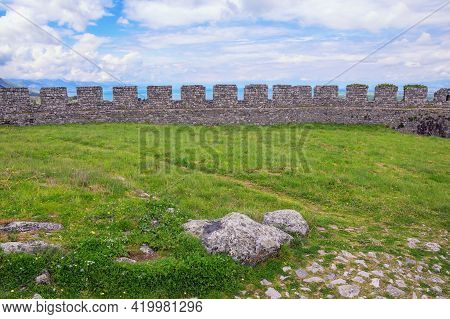 Ancient Fortifications. Albania, Shkoder City. Defensive Wall Of Old Ruined Fortress Of Rozafa Castl