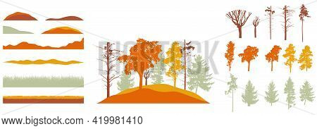 Creation Of Autumn Beautiful Park, Forest, Landscape, Woodland, Collection Of Design Element. Constr