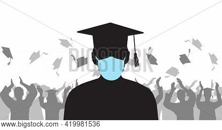 Silhouette Of Graduate In Medical Protective Mask On Background Of Cheerful Group People Throwing Mo