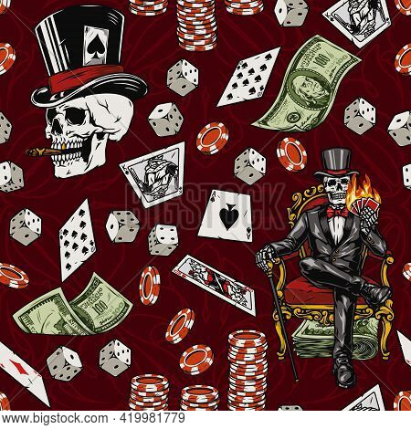 Gambling Vintage Seamless Pattern With Falling Money Casino Chips Dice Playing Cards Skull In Top Ha
