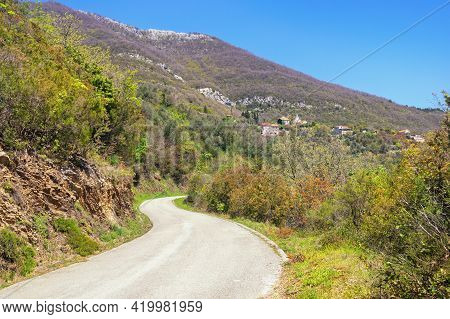 Beautiful Mountain Landscape With Country Road. Montenegro, Tivat