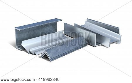 Set Of Metal And Aluminium L-shapes, T-shapes, I-shapes And Channels On A White Background, 3d Illus