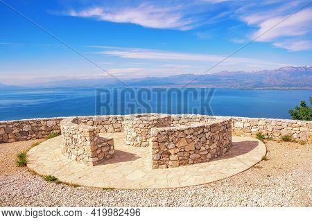 Coast Of Lake. Beautiful Sunny Landscape. Montenegro. Observation Deck In National Park Lake Skadar