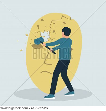 Vector Illustration Of A Man With A Hammer Breaking A Theatrical Mask. The Concept Of Getting Rid Of