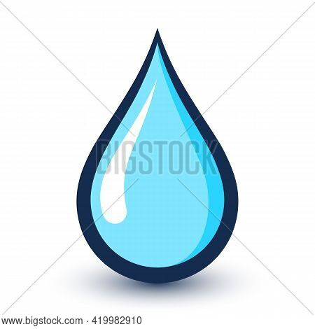 Water Drop Or Rain Droplet Icon. Vector Illustaration On A White Background