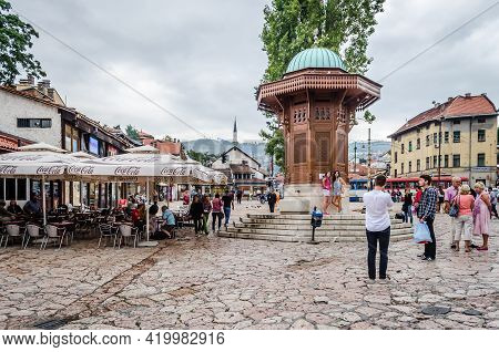 Sarajevo, Bosnia, August 17, -  Bosnia And Herzegovina, 2014:  Bascarsija, Sarajevo\'s Old Bazaar An