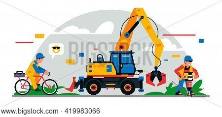 Construction Equipment And Workers At The Site. Colorful Background Of Geometric Shapes And Clouds.