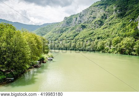 Panorama Of The River Drina Near The Town Of Visegrad In Bosnia And Herzegovina.