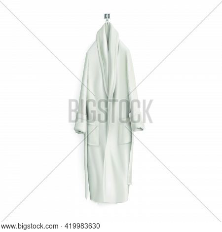 Comfortable, White Bathrobe For Home On An Isolated White Background. 3d Vector Illustration
