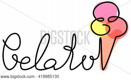 Gelato Word With Ice Cream Doodle Hand Writing Continuous Colorful