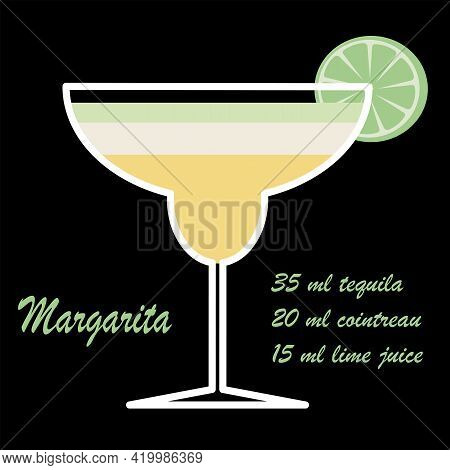 Vector Illustration Margarita Cocktail With Recipe. Colorful