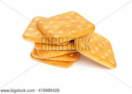 Saltine Cheese Crackers On White Isolated Background Top View.