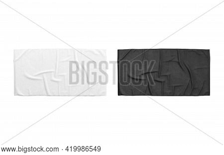 Blaank Black And White Crumpled Big Towel Mockup, Isolated, 3d Rendering. Empty Micorfiber Towels Fo