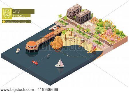 Vector Isometric Beach Pier And Amusement Park