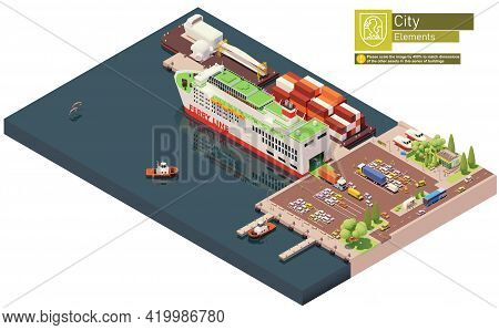 Vector Isometric Ferry Ship Unloading Or At The Port