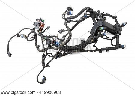A Cable Of Matted Wires Of Different Colors With Connectors In The Electrical Wiring Of The Car. Int