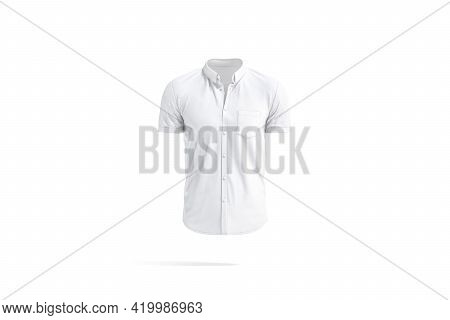 Blank White Short Sleeve Button Down Shirt Mockup, Isolated, 3d Rendering. Empty Casual Poloshirt Wi