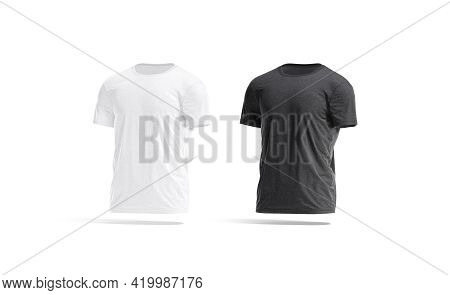 Blank Black And White Wrinkled T-shirt Mockup Set, Side View, 3d Rendering. Empty Classic Crumpled T