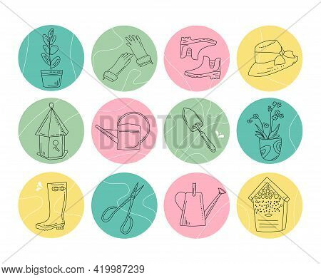 Gardening Blog Or Shop.round Hand Drawn Highlights For Social Media.planting Equipment And Tools In