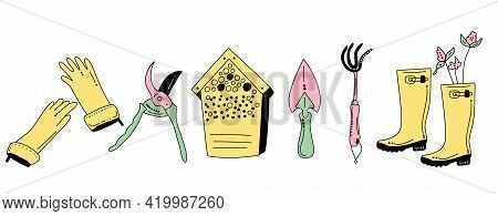 Gardening Equipment And Tools In Doodle Style. Hand Drawn Horizontal Set For Planting And Seedling.e