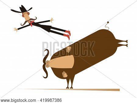 Man Or Cowboy Falls From The Bull Illustration. Comic Man Or Cowboy In Stetson Hat Falls From The Bu