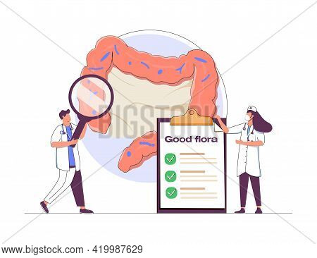 Tiny Scientists Studying Gastrointestinal Tract And Digestive System Isolated Flat Vector Illustrati