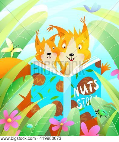 Squirrels Reading A Book In The Forest Among Green Leaves And Grass, Mother And A Squirrel Cub Havin