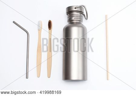 Bamboo Toothbrushes With Titanium Hydration Bottle And Reusable Stainless Steel Straws. Zero Waste C