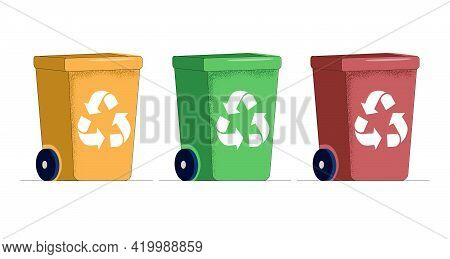 Vector Illustration Of A Set Of Trash Cans. Recycling Garbage Separation Collection And Recycling Is