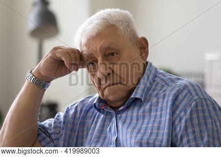 Upset Elderly Male Feel Desperate Tired Having Mental Health Problems