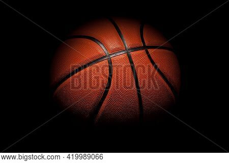 Basketball Rubber Orange Ball Close-up Texture Background.