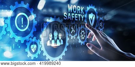 Work Safety Hse Regulation Rules Business Concept On Screen