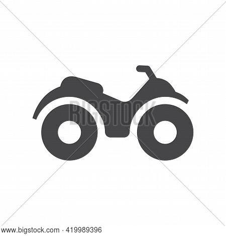 Atv Or Motorbike Black Vector Icon. Quad All Terrain Vehicle Symbol.