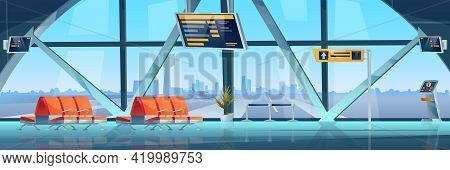 Airport Interior Waiting Hall, Empty Rows Of Seats, Lounge Zone. Vector Departure Arrival Room With