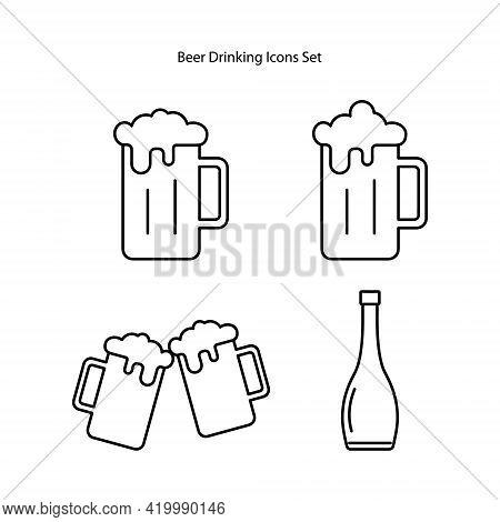 Beer Mug Icons Set Isolated On White Background. Beer Mug Icon Thin Line Outline Linear Beer Mug Sym