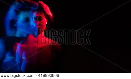 Bipolar Disorder. Emotional Crisis. Depression Loneliness. Blur Double Exposure Silhouette Of Distur