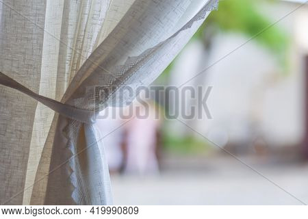 Linen Beautiful Curtain Or Curtain In The Cafe Covers The Window