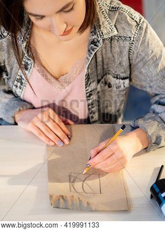 Sketching Art. Creative Hobby. Graphic Illustration. Inspired Left- Handed Female Artist Enjoying Dr