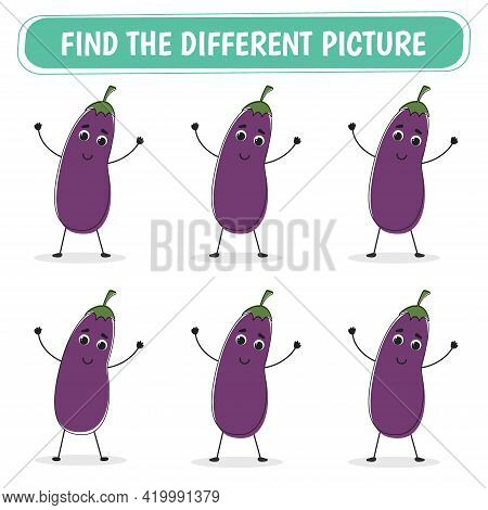 Game For Kids. Find A Different Eggplant Among The Same Ones. Vector Illustration