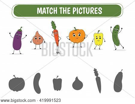 Educational Game Find The Correct Shadow. Mindfulness Game For Kids With Vegetables. Vector Illustra
