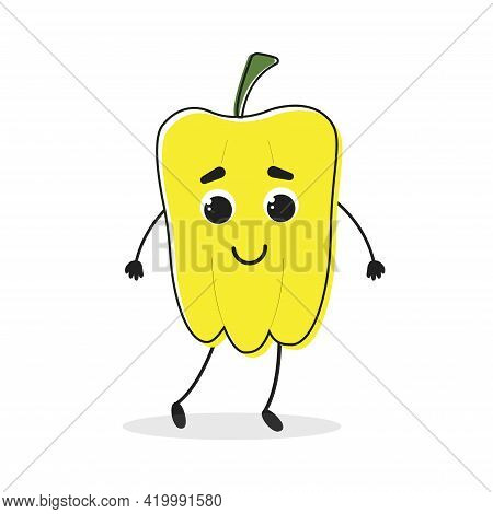 Pepper. Cartoon Drawing Style. Cute Funny Vegetable. Vector Illustration For Menu, Packaging, Logos,
